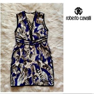 New! ROBERTO CAVALLI Feather Lace Up Chest Dress